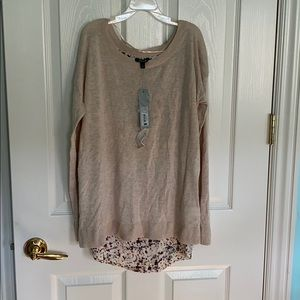 NWT tan long sleeve with open detailed floral back